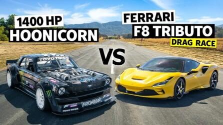 Ken Block's Hoonicorn Drag Races Ferrari F8 Tributo